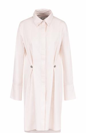 Приталенное хлопковое платье-рубашка Carven. Цвет: светло-розовый