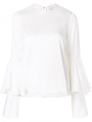 Flared layered longsleeved blouse Galvan. Цвет: белый