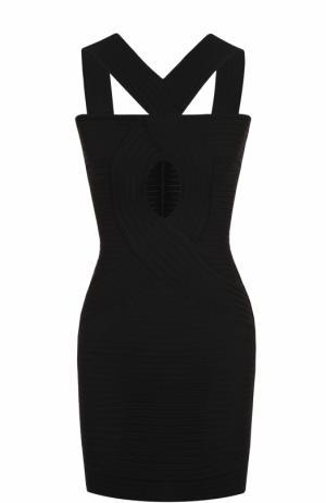 Платье-футляр фактурной вязки с декоративным разрезом Herve L.Leroux. Цвет: черный