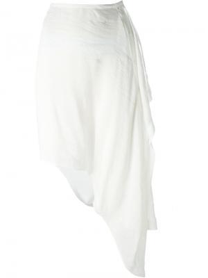 Асимметричная юбка с запахом Lost & Found Ria Dunn. Цвет: белый