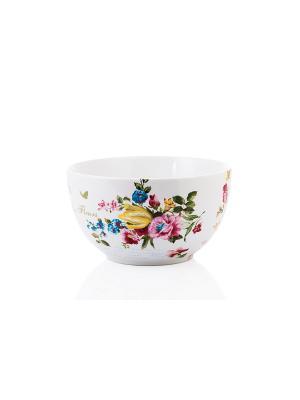 Салатник Цветочная коллекция 18см Elff Ceramics. Цвет: голубой, розовый, белый