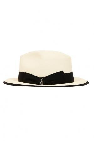 Белая шляпа с черной лентой Gucci. Цвет: белый