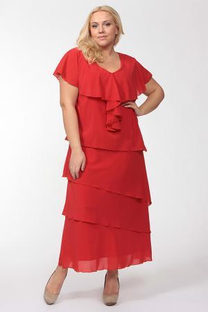 Свободное платье с овальным вырезом Amazone. Цвет: красный