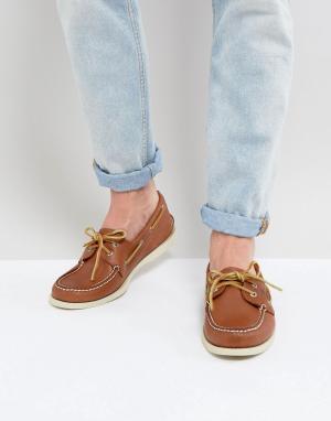 Sperry Светло-коричневые кожаные мокасины Topsider. Цвет: рыжий