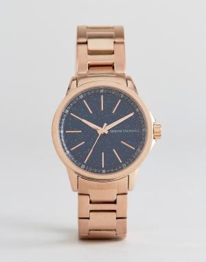 Armani Exchange Розово-золотистые часы-браслет AX4352. Цвет: золотой