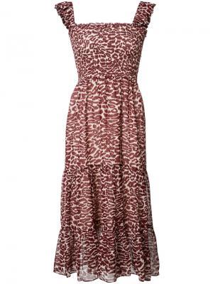 Платье с леопардовым узором Piamita. Цвет: красный