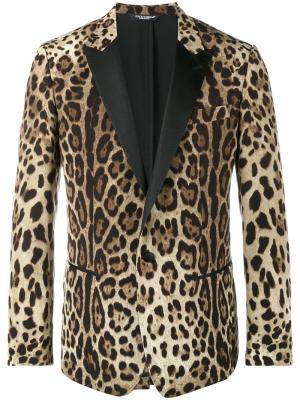 Блейзер с леопардовым принтом Dolce & Gabbana. Цвет: коричневый