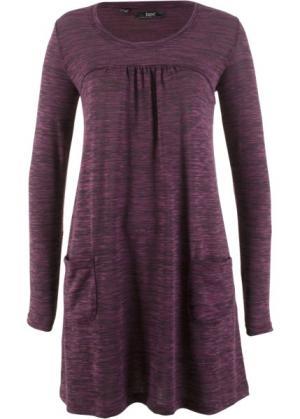 Трикотажное платье меланжевого дизайна с длинным рукавом (меланж цвета бузины) bonprix. Цвет: меланж цвета бузины
