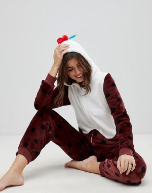 Loungeable Комбинезон Рождественский пудинг с 3D-отделкой. Цвет: коричневый