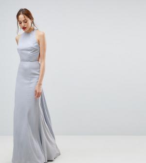 Jarlo Tall Платье макси с открытой спиной. Цвет: серый