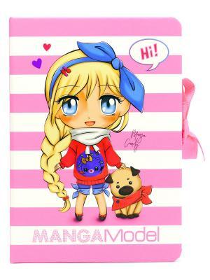 Папка TOPModel Manga с зажимом и набором для записей DEPESCHE. Цвет: розовый, белый