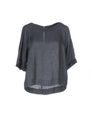 Блузка 120% LINO. Цвет: серый