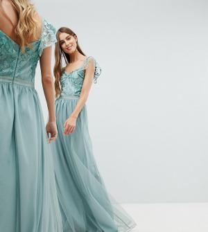 Amelia Rose Tall Платье макси с оборками на рукавах. Цвет: зеленый