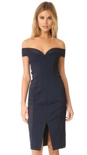 Бандажное платье с открытыми плечами Nicholas. Цвет: темно-синий