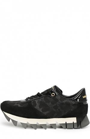 Комбинированные кроссовки Capri с принтом Dolce & Gabbana. Цвет: черный