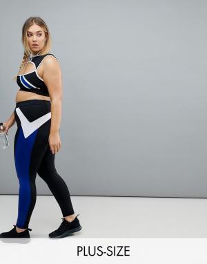 South Beach Черные спортивные леггинсы с синими полосами Plus. Цвет: мульти