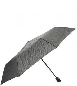 Серый складной зонт в клетку Doppler. Цвет: серый