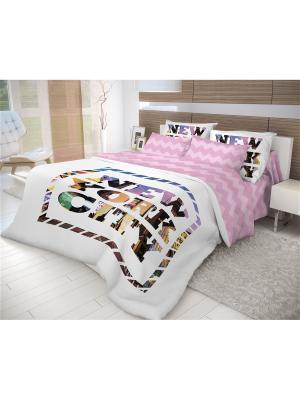 Комплект постельго белья Волшебная ночь 1,5 сп. 70*70 New York. Цвет: белый, зеленый, коричневый, фиолетовый, фуксия, черный