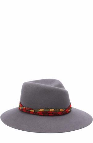 Фетровая шляпа Virginie с тесьмой Maison Michel. Цвет: серый