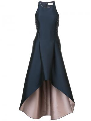 Длинное платье с неравномерным подолом Eugenia Sachin & Babi. Цвет: синий