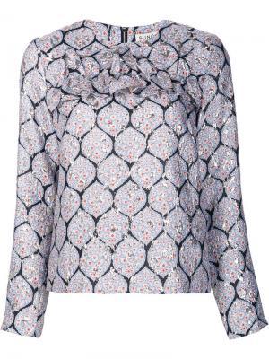 Блузка с эффектом металлик Suno. Цвет: синий
