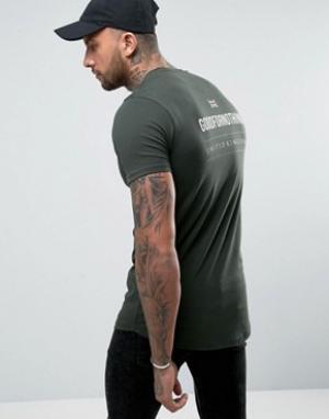 Good For Nothing Обтягивающая футболка цвета хаки с принтом на спине. Цвет: зеленый