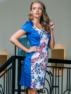 Платье Marlen. Цвет: синий, коралловый, белый