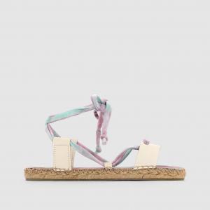 Эспадрильи из текстиля и кожи, на шнуровке, CHRIS COOLWAY. Цвет: белый