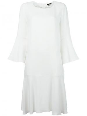 Расклешенное платье Odeeh. Цвет: белый