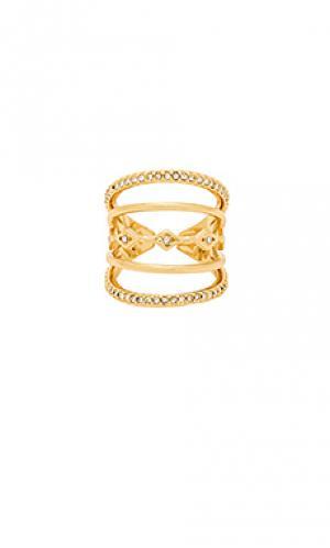 Комбинированное кольцо с инкрустацией evil eye Luv AJ. Цвет: металлический золотой