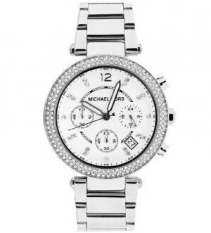 Часы с серебристым металлическим браслетом Michael Kors
