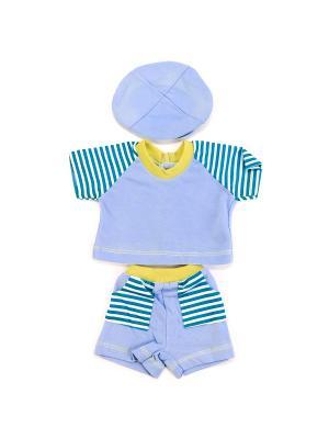 Комплект одежды для куклы Карапуз 40-42см, футболка, шортики и кепочка (трикотаж).. Цвет: белый, голубой, синий