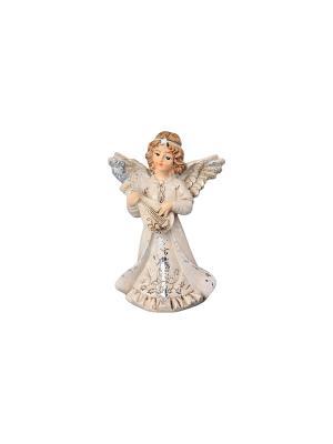 Фигурка декоративная Ангел с мандолиной Elan Gallery. Цвет: молочный, золотистый, серебристый, бежевый