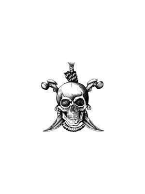 Временная переводная татуировка Череп с кинжалами МнеТату. Цвет: золотистый