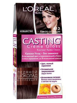 Стойкая краска-уход для волос Casting Creme Gloss без аммиака, оттенок 412, Какао со льдом L'Oreal Paris. Цвет: темно-коричневый