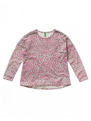 Лонгслив United Colors of Benetton. Цвет: серый, бледно-розовый, кремовый