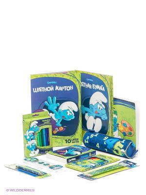 Набор канцелярских товаров Смурфики. Цвет: салатовый, темно-синий, синий