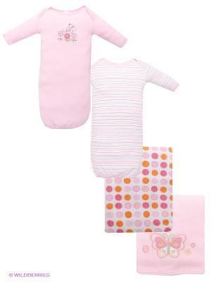 Комплект Ночные сорочки и Пеленки Spasilk. Цвет: розовый