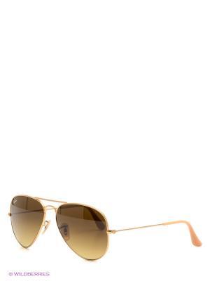 Очки солнцезащитные Ray Ban. Цвет: золотистый, коричневый