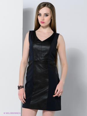 Платье Vila. Цвет: темно-синий, черный