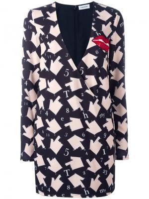 Платье с V-образным вырезом и рисунком Au Jour Le. Цвет: чёрный