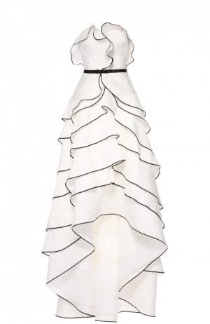 Многоярусное платье-бюстье асимметричного кроя Oscar de la Renta. Цвет: белый