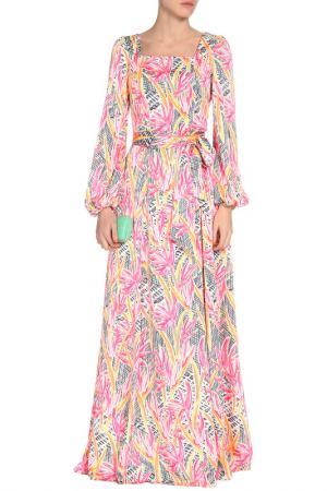 Платье с поясом MARINO MILANO. Цвет: мультицвет