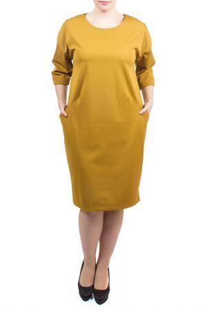 Свободное платье с округлым вырезом Piena. Цвет: горчичный