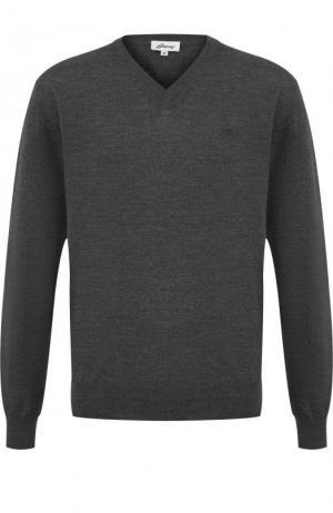 Пуловер из шерсти тонкой вязки Brioni. Цвет: темно-серый
