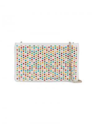 Клатч с разноцветными шипами Christian Louboutin. Цвет: белый