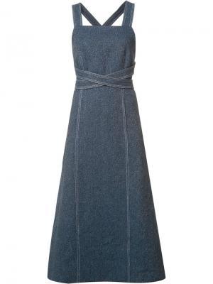 Платье с перекрещивающимся поясом Rosetta Getty. Цвет: синий