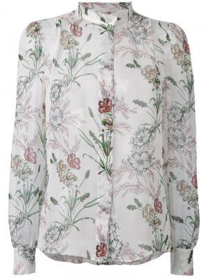 Рубашка с воротником и цветочным принтом Giambattista Valli. Цвет: белый