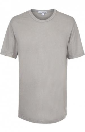 Хлопковая футболка с круглым вырезом James Perse. Цвет: светло-серый