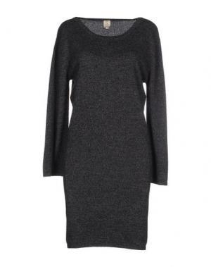 Короткое платье QI CASHMERE. Цвет: стальной серый